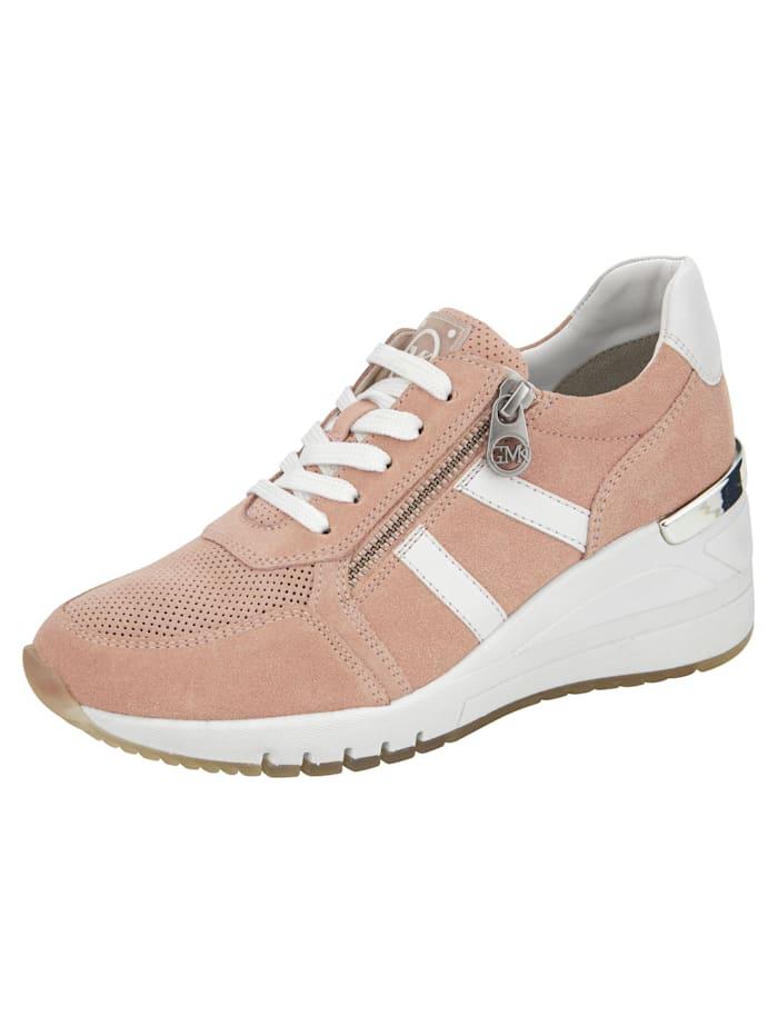 Marco Tozzi Sneaker met subtiele perforaties, Roze