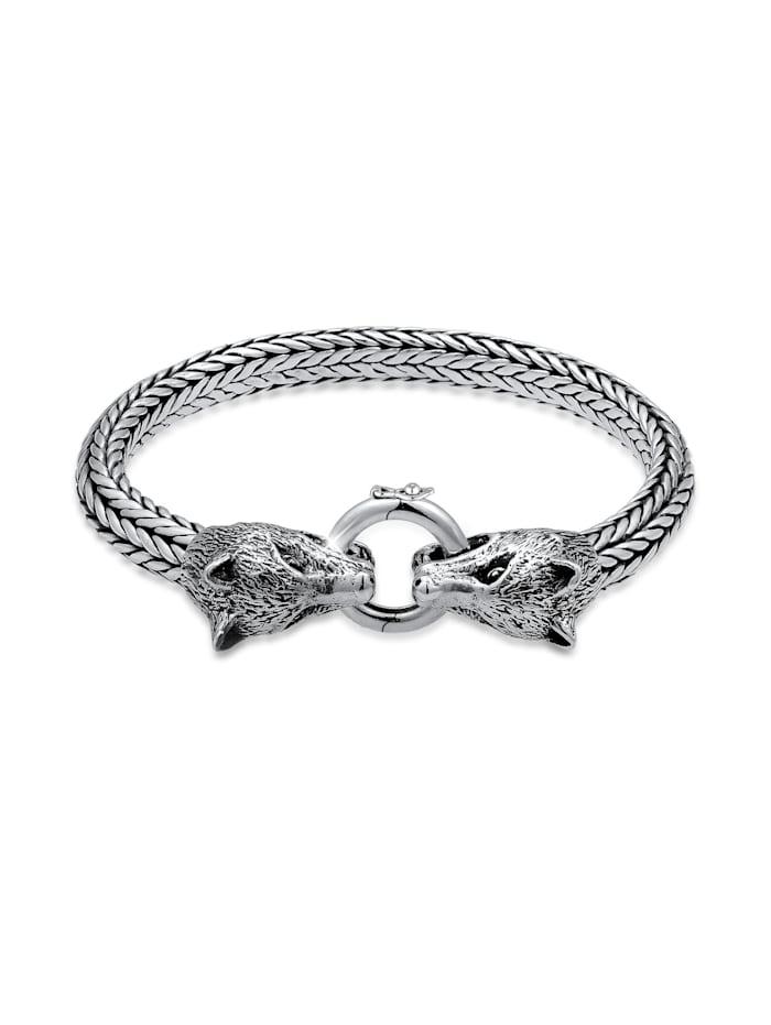 Kuzzoi Armband Herren Wolfskopf Braided Ringverschluss 925 Silber, Silber