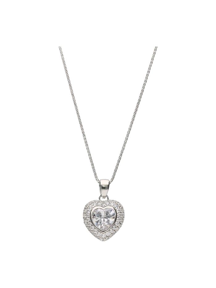Smart Jewel Kette Herz-Anhänger mit Zirkonia, Silber 925, Weiss