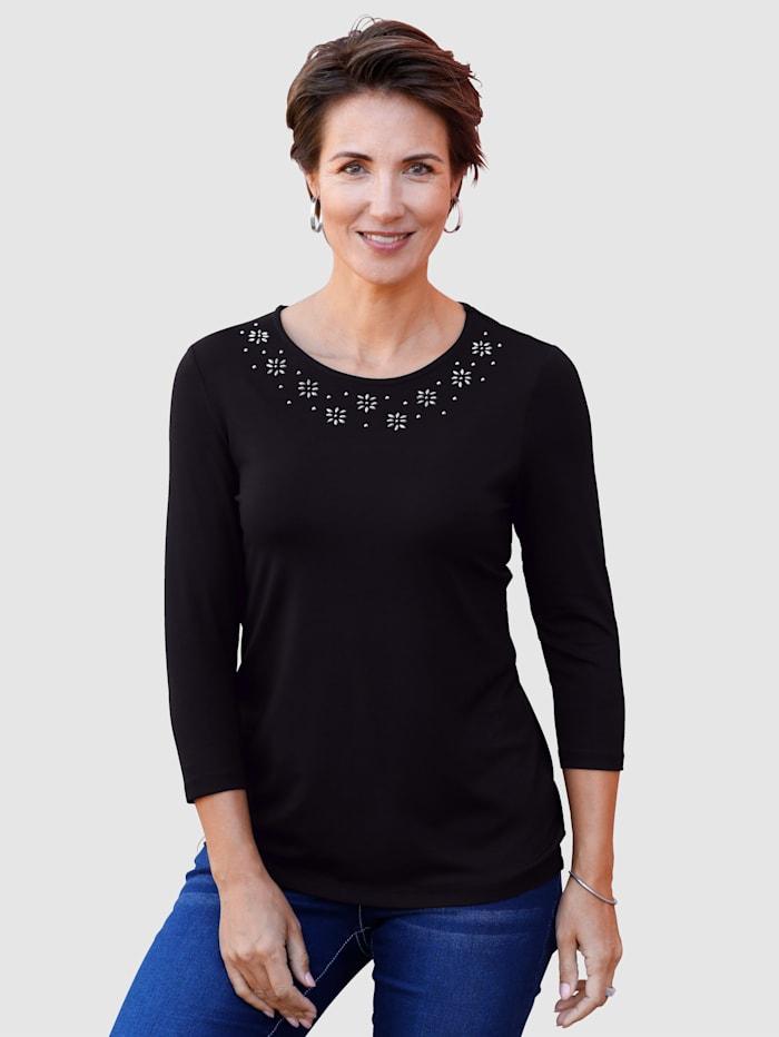 Paola Shirt mit floraler Dekoration, Schwarz