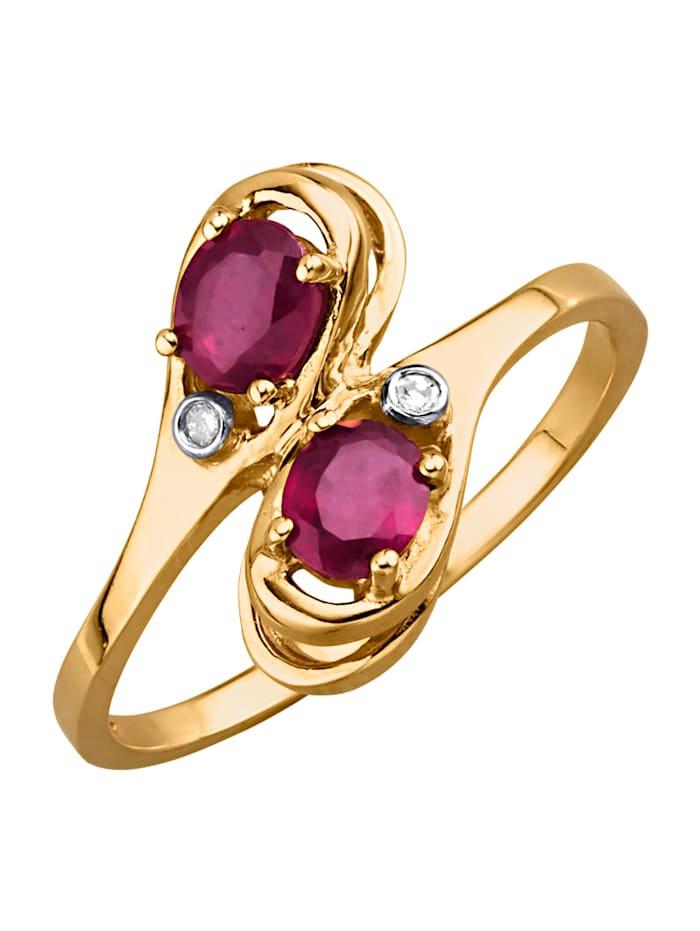 Ring i guldfärgat silver 925, Röd