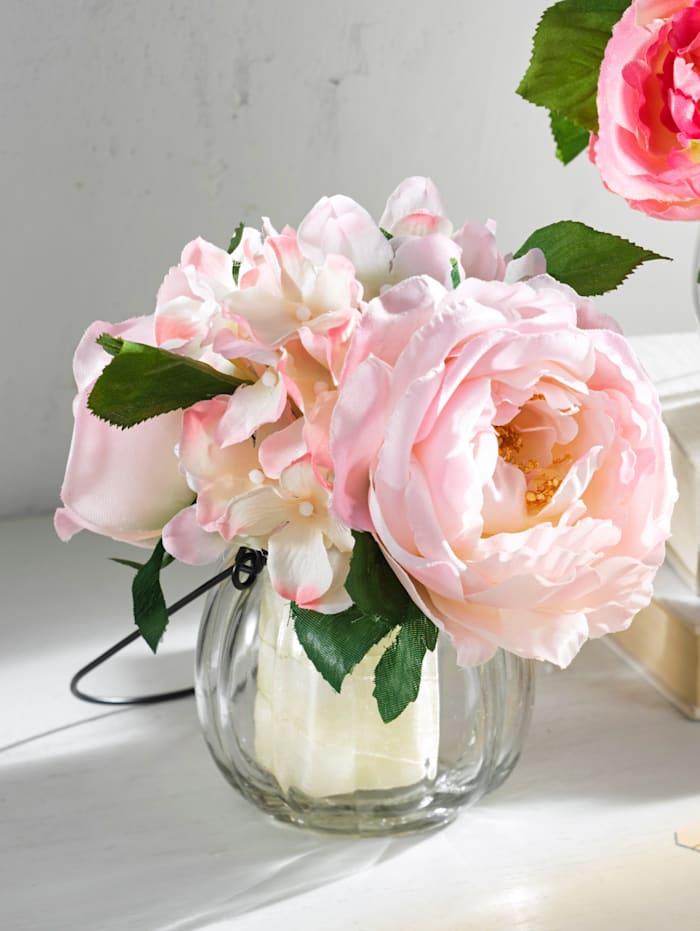Kytica ruží v sklenenej váze, Ružová/Pink