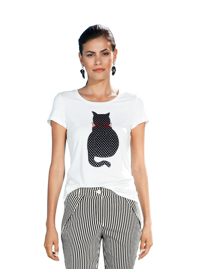 AMY VERMONT Shirt mit Katzen-Motiv, Off-white/Schwarz