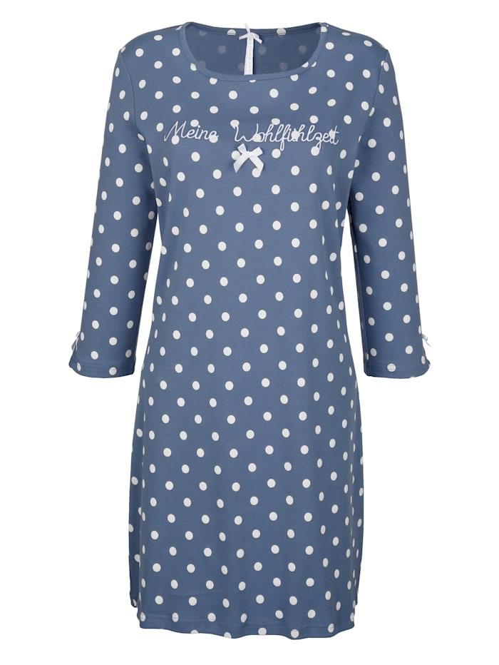 Louis & Louisa Nachthemd met mooi satijnen strikje, Rookblauw/Wit