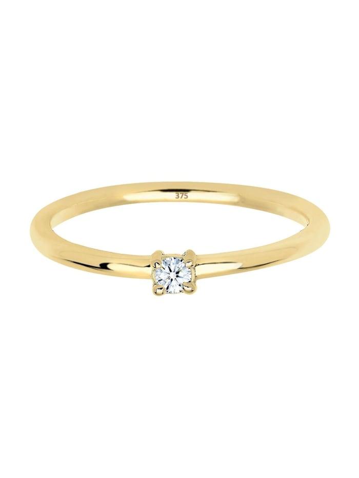 Ring Verlobungsring Diamant 0.06 Ct. 375 Gelbgold