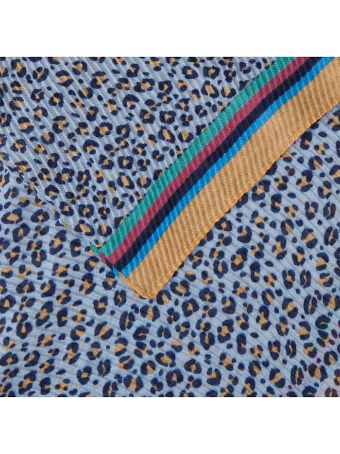 Plissee-Schal mit Leo-Muster aus recyceltem Polyester