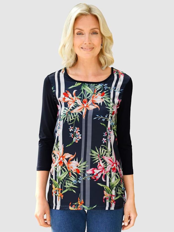 Paola Shirt mit floralem Druck vorne, Marineblau