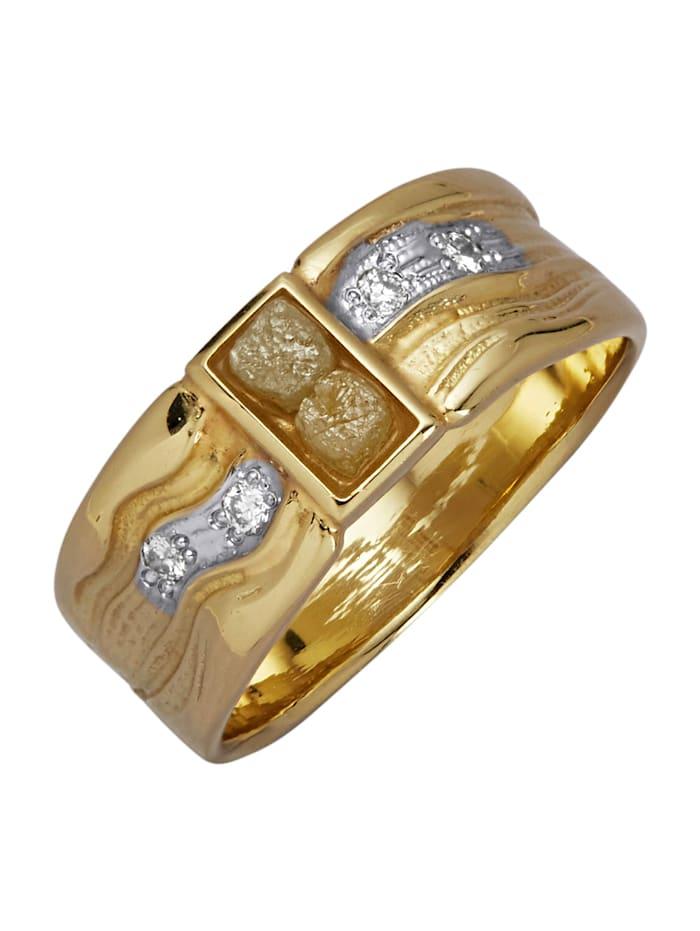 Diemer Atelier Damenring mit Rohdiamanten, Gelbgoldfarben