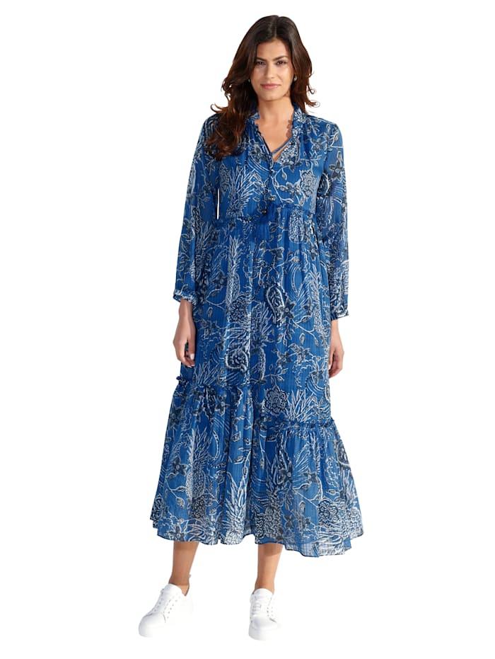 Lieblingsstück Kleid mit Ananas-Druck, Blau/Weiß
