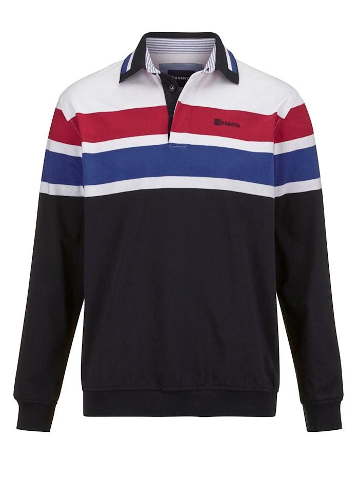 BABISTA Sweatshirt mit sportivem Kragen, Marineblau/Rot