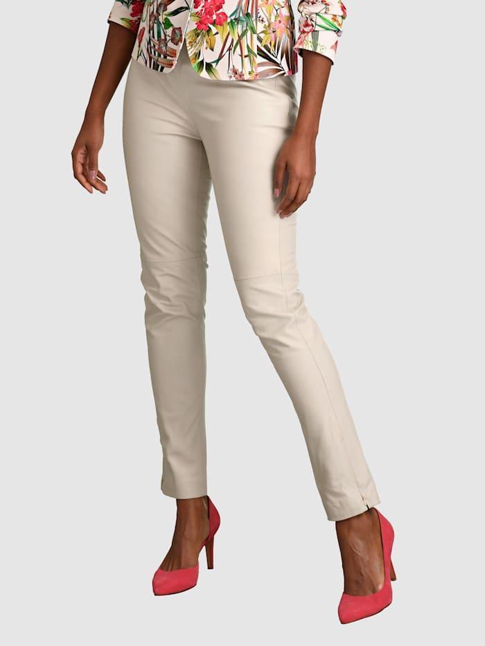 Alba Moda Pantalon en cuir matière extrêmement douce, Beige