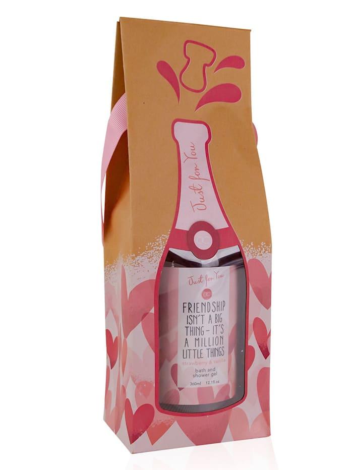 """Accentra Gel de bain et de douche """"JUSTE POUR VOUS En """"bouteille de champagne"""" avec coffret cadeau, ."""