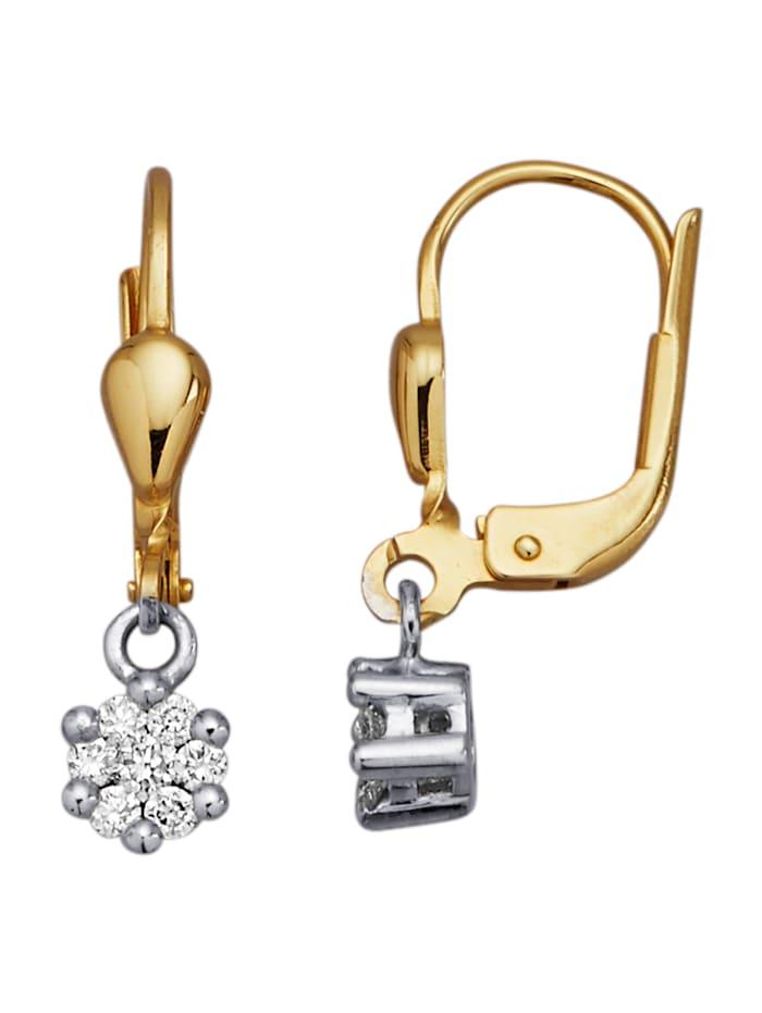 Amara Diamants Boucles d'oreilles à brillants, Coloris or blanc