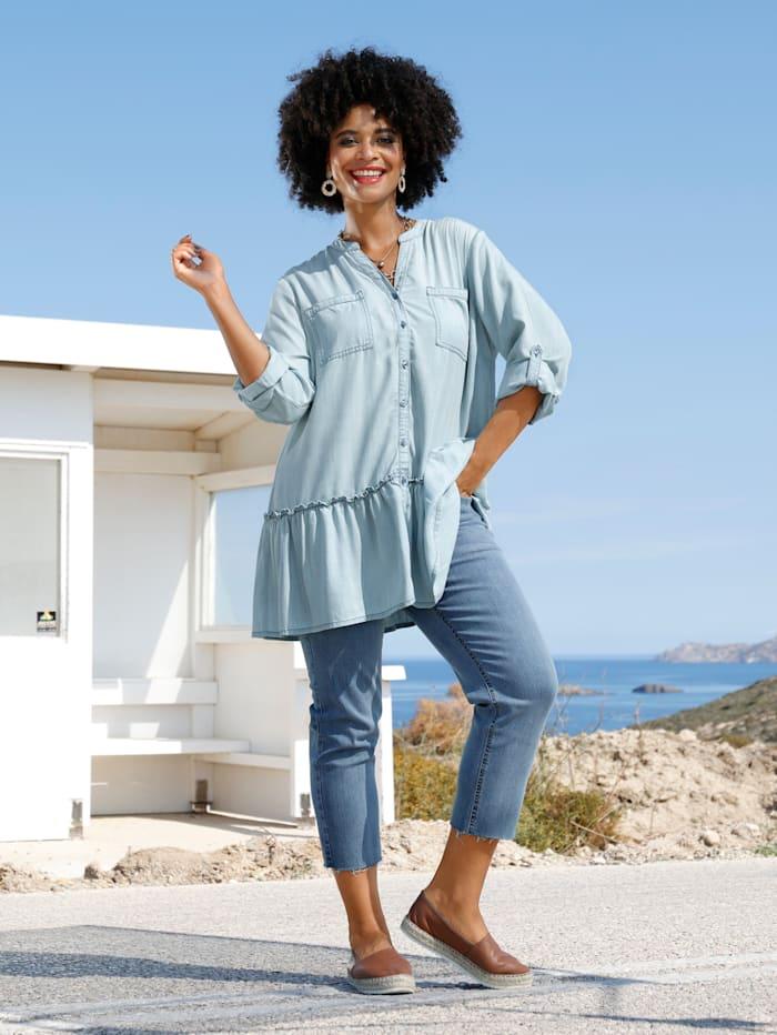 Angel of Style Bluse mit krempelbaren Ärmeln, Hellblau