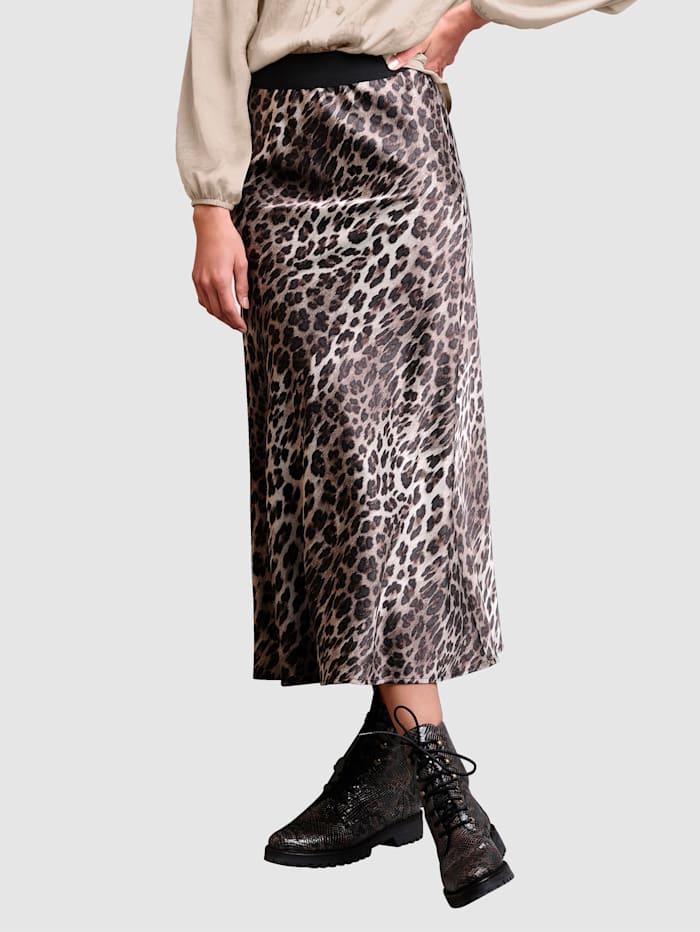 Alba Moda Rok met animaldessin rondom, Bruin/Zand/Zwart