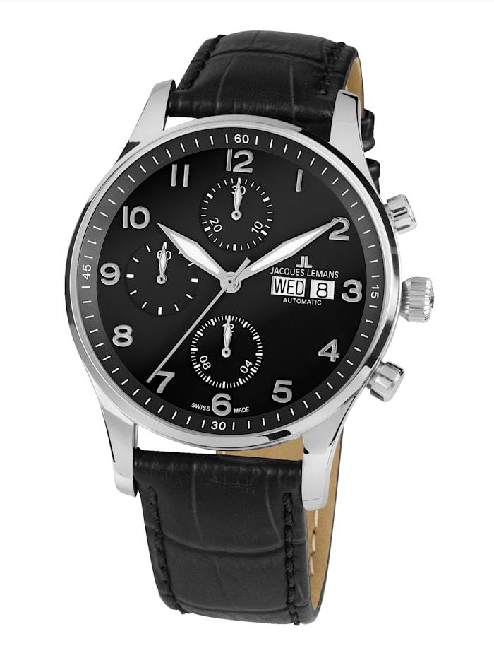 Jacques Lemans Herren- Uhr- Automatik-Chronograph Serie: London Automatic, Kollektion: Classic: 1- 1927A, Schwarz