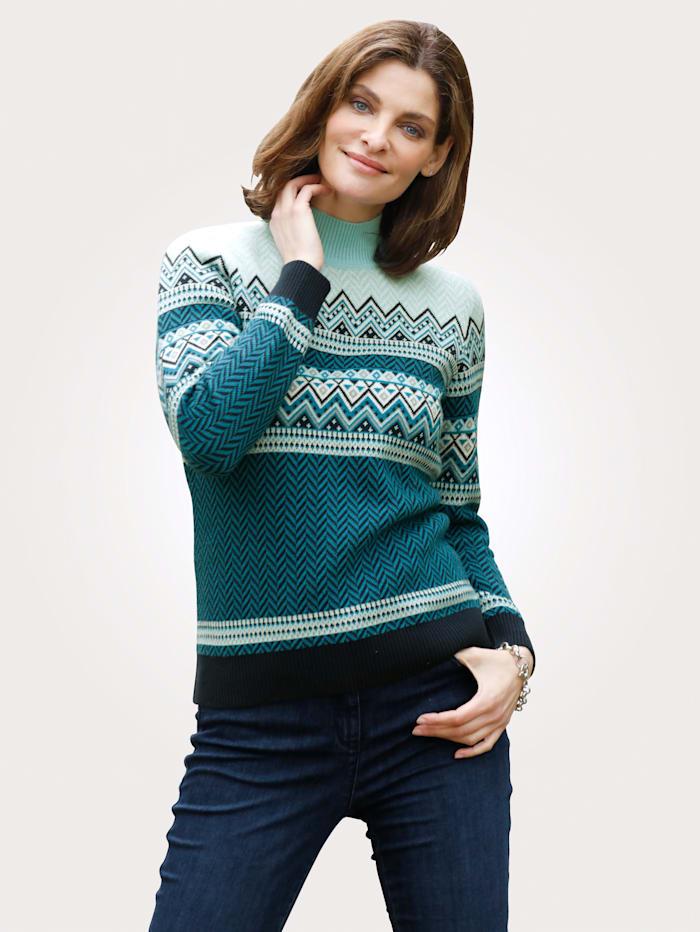 MONA Pullover aus Jacquardstrick, Marineblau/Blau/Eisblau