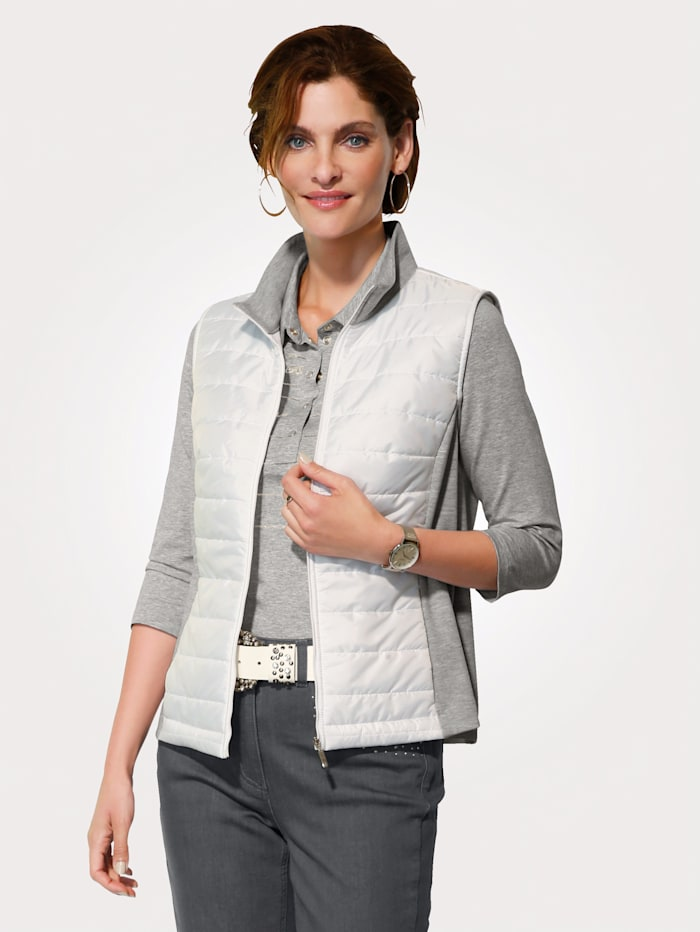 MONA Gilet with jersey inserts, White/Light Grey