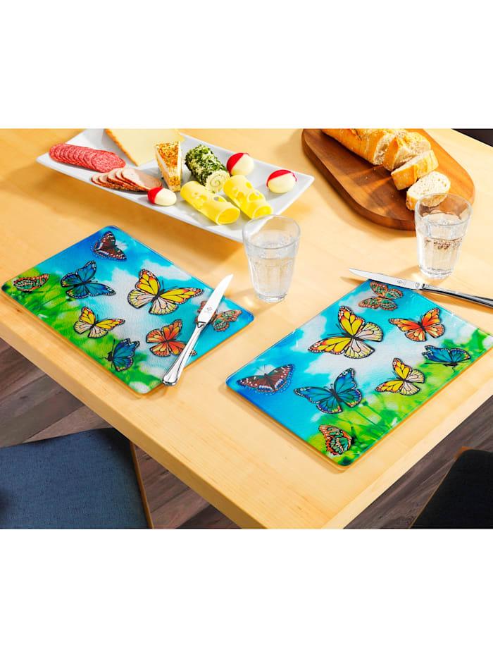 Wenko 2 skjære- og serveringsbrett -Sommferfugl-, flerfarget