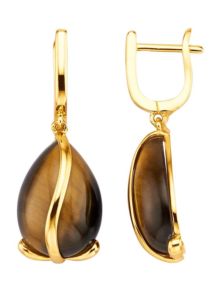 Ohrringe mit Tigerauge-Cabochon, Braun