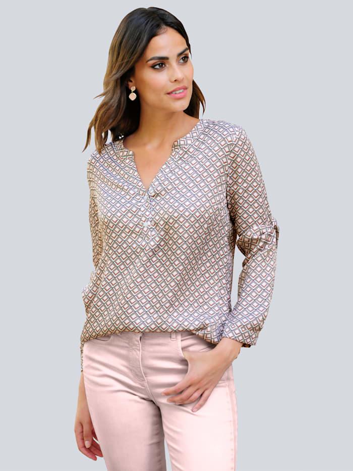Alba Moda Blus med exklusivt Alba Moda-mönster, Offwhite/Beige/Rosa