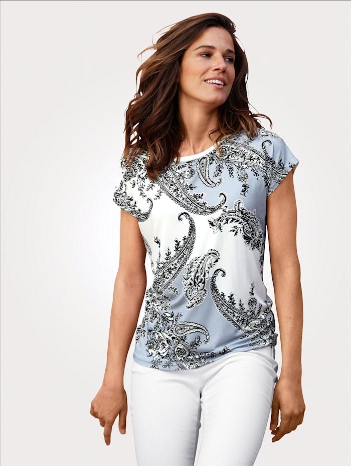 MONA Shirt mit platziertem Paisleydruck, Ecru/Hellblau/Nachtblau