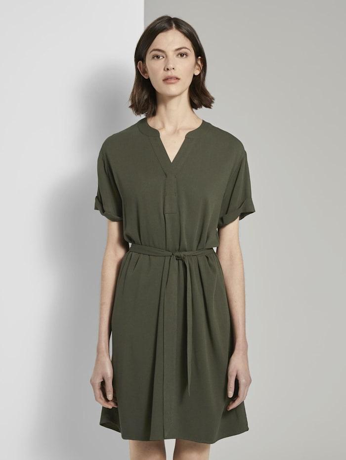 Tom Tailor T-Shirt-Kleid mit Bindegürtel, Woodland Green