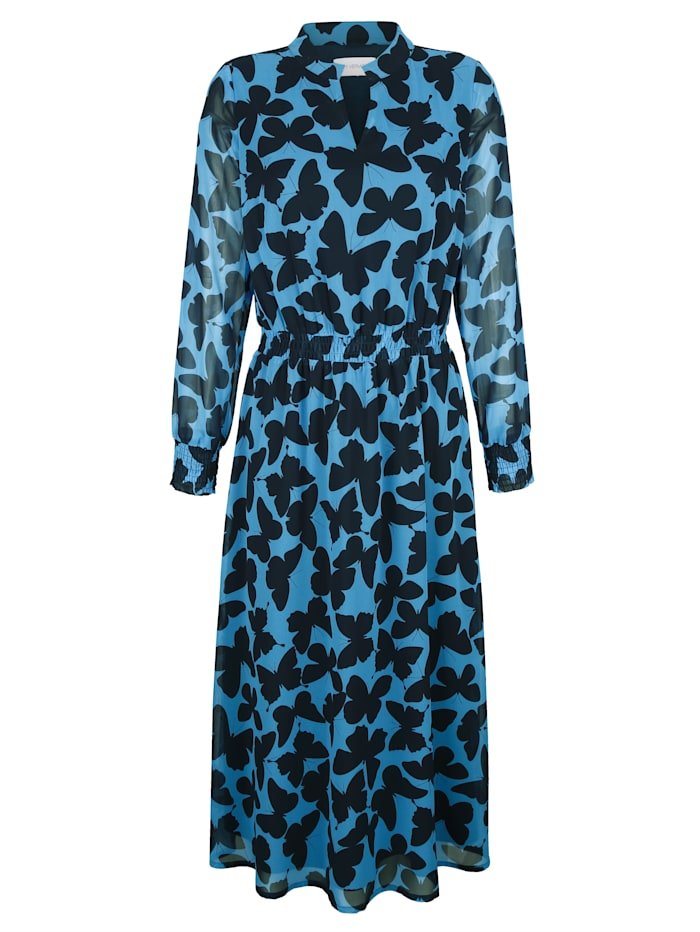 AMY VERMONT Kleid mit Schmetterlingsdruck, Dunkelblau/Hellblau