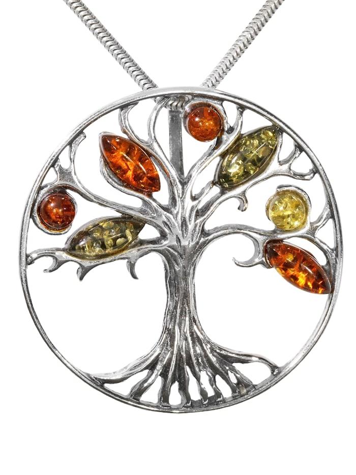 1001 Diamonds Damen Schmuck Edelstein Bernstein Anhänger 925 Silber Baum des Lebens, silber