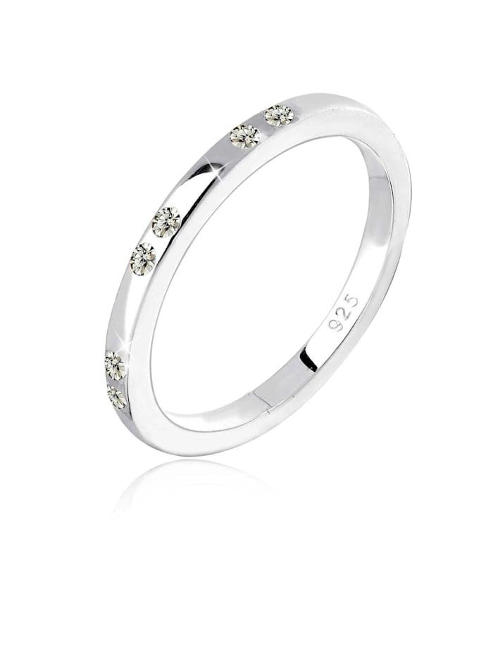 Elli Ring Kristalle 925 Sterling Silber, Grau