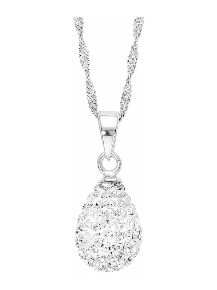 amor Kette mit Anhänger für Damen, Sterling Silber 925, Kristallglas Tropfen, Silber