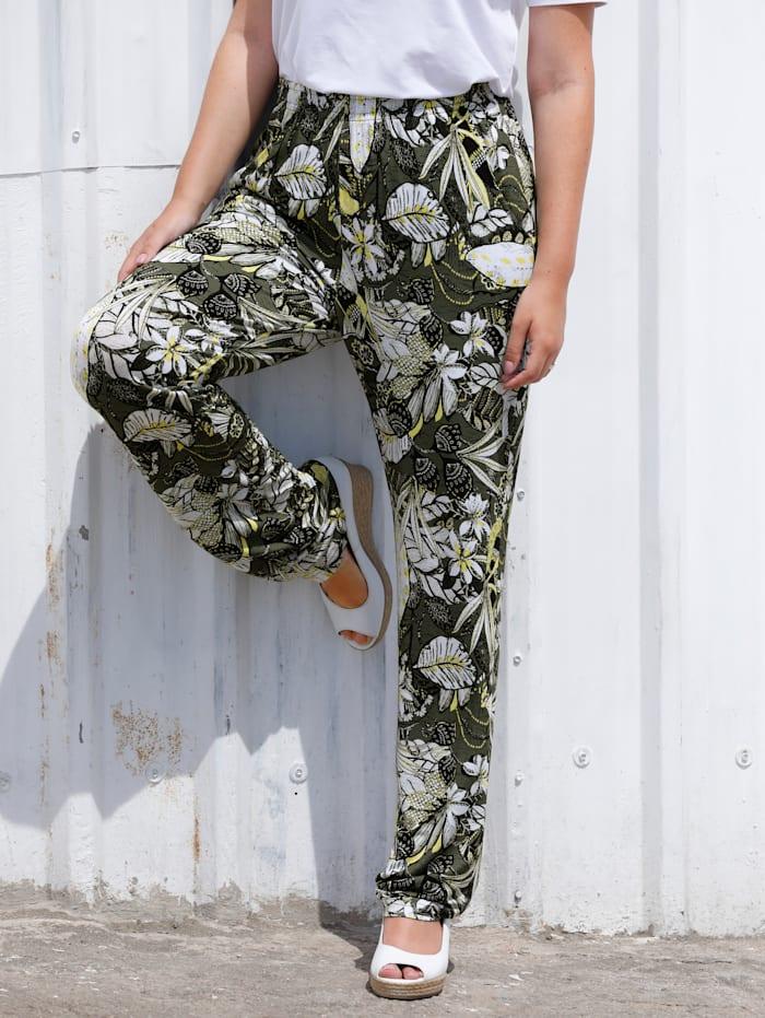 MIAMODA Pantalon à superbe imprimé fleuri, Kaki/Jaune