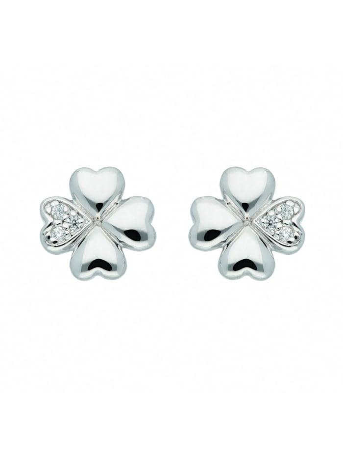 1001 Diamonds Damen Silberschmuck 925 Silber Ohrringe / Ohrstecker Kleeblatt mit Zirkonia, silber