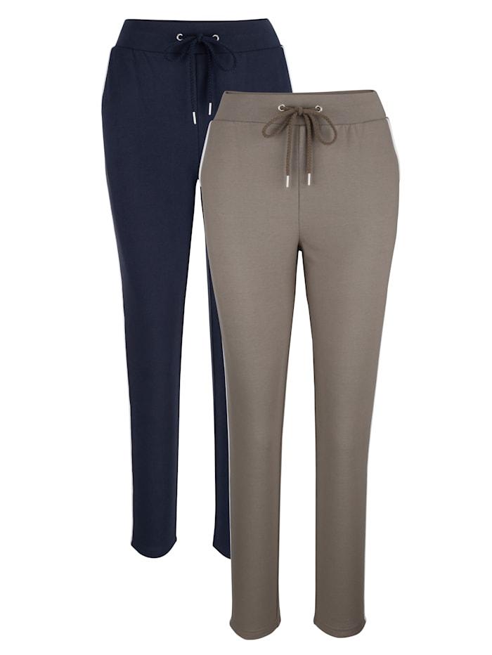 Harmony Freizeithosen mit kontrastfarbener Paspelierung, Marineblau/Taupe/Weiß