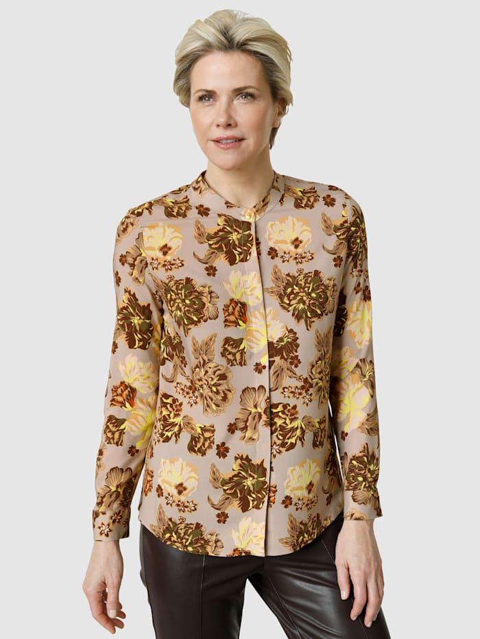 MONA Bluse mit floralem Druckdessin, Taupe/Braun/Neongelb
