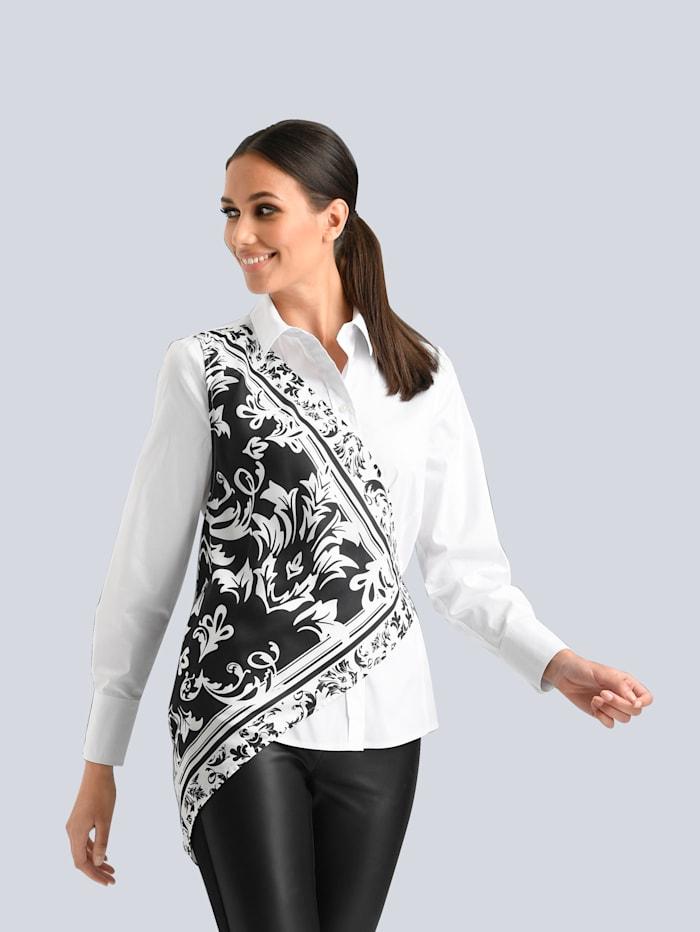 Alba Moda Bluse mit satiniertem Bindetuch, Weiß