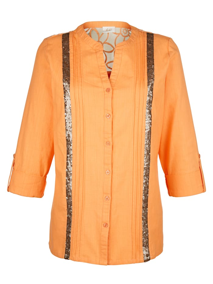 Paola Bluse mit Paillettenzier, Orange