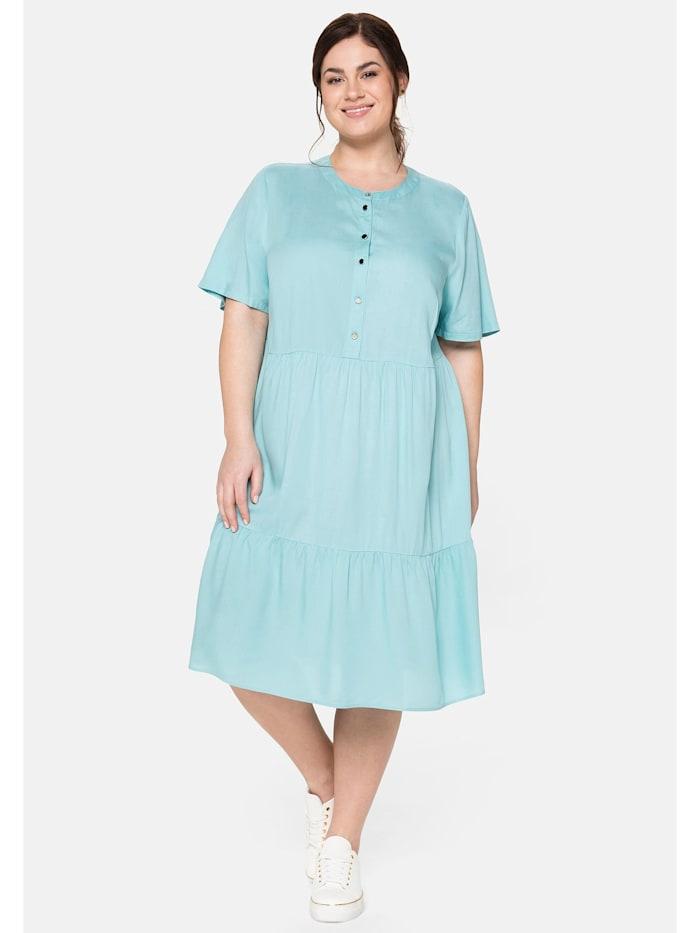 Sheego Kleid mit Knopfleiste und Volants, helltürkis