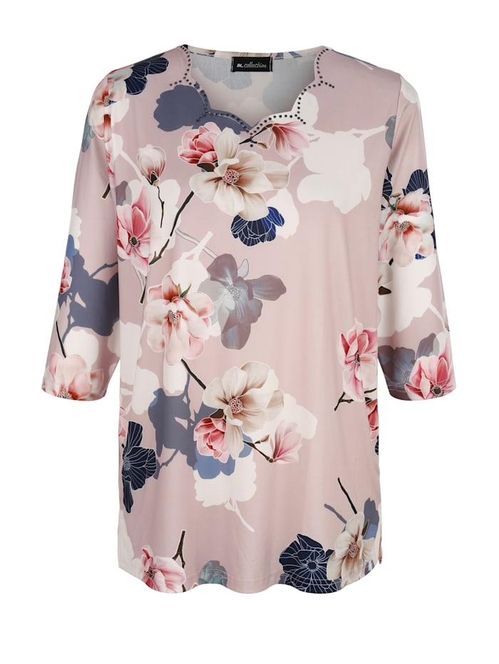 m. collection Shirt met mooie hals en bloemenprint, Roze/Marine