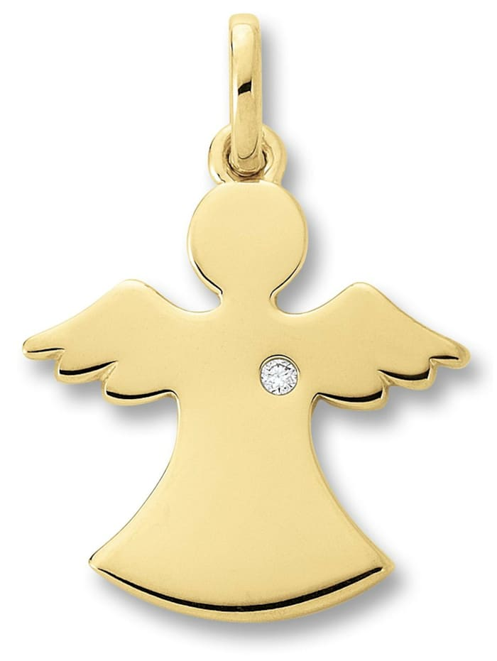 One Element Damen Schmuck Anhänger Engel aus 585 Gelbgold mit 0,01 ct Diamant, gold