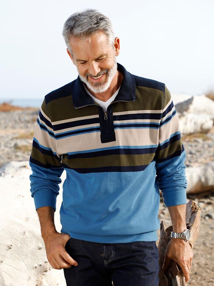 BABISTA Sweatshirt aus luftig, leichter Piqué-Qualität, Blau/Oliv/Beige