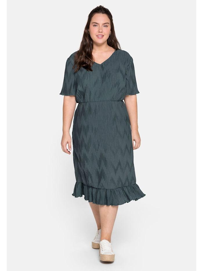 Sheego Plisseekleid mit Volant und plissiertem Zick-Zack-Muster, dunkelgrau