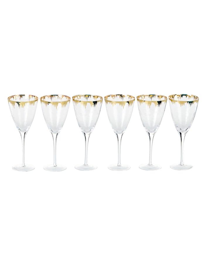 IMPRESSIONEN living Glas-Set, 6-tlg., Transparent/Goldfarben