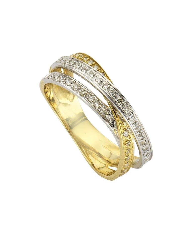 Diamonds by Ellen K. Ring 585/- Gold Diamant weiß Diamant Bicolor 0,24ct. 585/- Gold, gelb