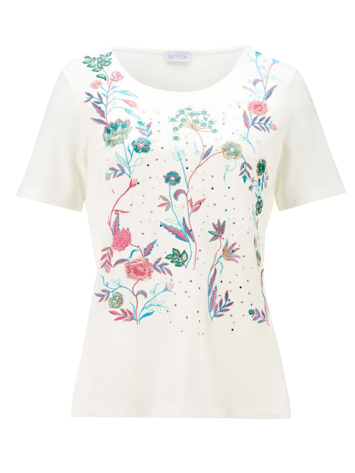 Shirt mit Blüten-Stickerei