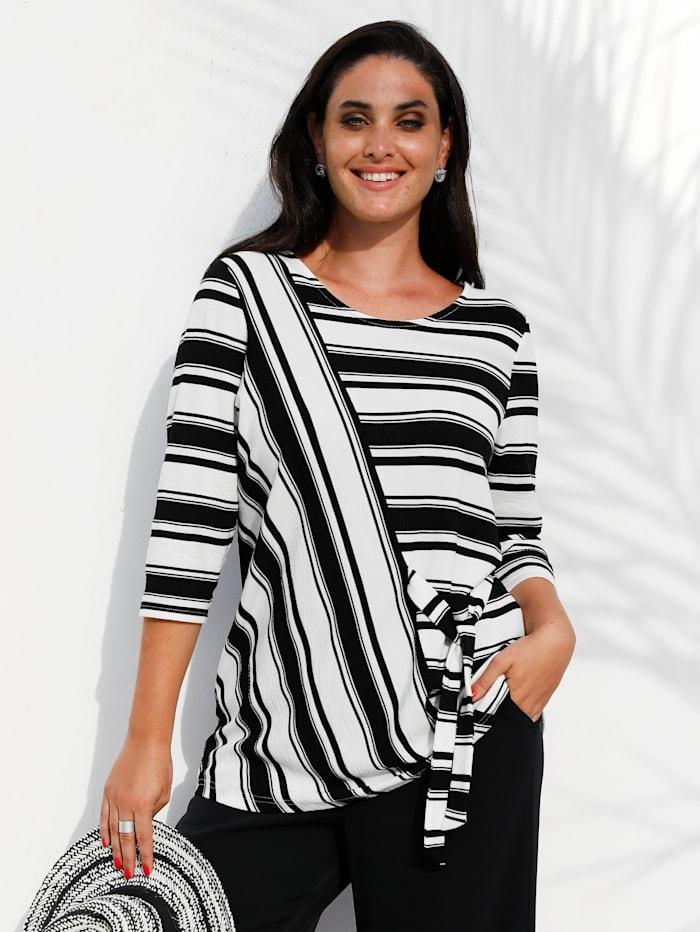 MIAMODA T-shirt avec détail à nouer, Blanc/Noir