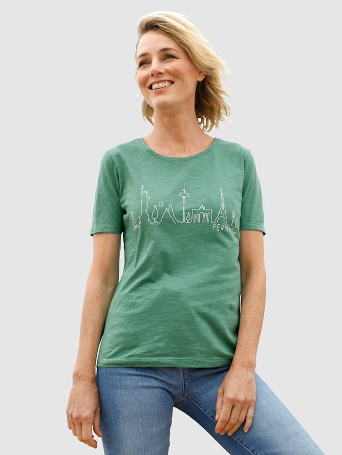 Dress In Shirt mit Frontprint, Salbeigrün