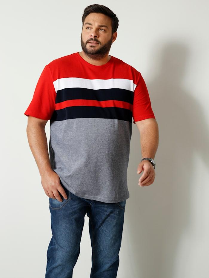 Men Plus T-shirt van zuiver katoen, Marine/Wit/Rood