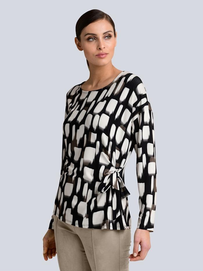 Alba Moda Shirt im Alba Moda exklusivem Dessin, Schwarz/Creme-Weiß/Taupe