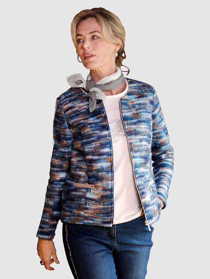 Paola Strickblazer mit flauschiger Außenseite, Marineblau/Taupe/Petrol